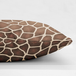 Faux Suede Giraffe Print Cushion Side View