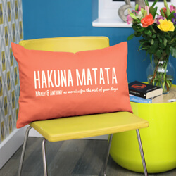 Personalised hakuna matata cushion on chair