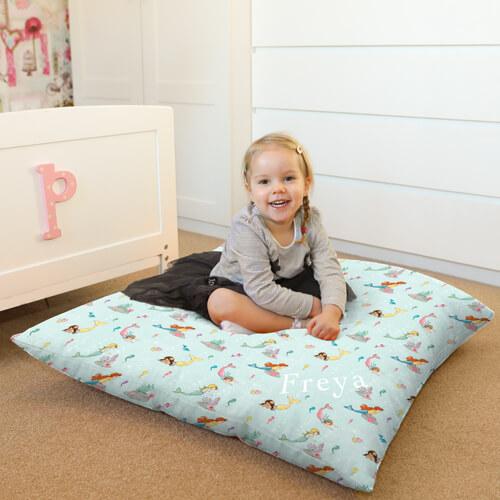 Personalised Belle & Boo Mermaid Play Kids Floor Cushion