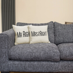Mr and Mrs Right Cushions on Sofa