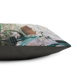 Personlaised Cushion Side view with grey fabric reverse
