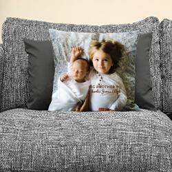Personalised Sibling Cushion on sofa