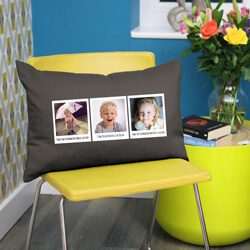 Personalised Trio of Polaroids Photo Cushion