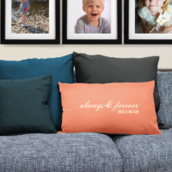 Always and Forever Cushion on Sofa