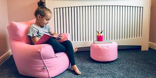 Children's Bean Bag Chair with Matching Kids Stool