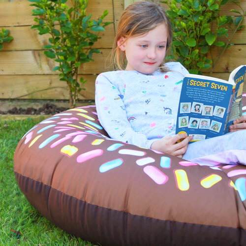 Chocolate donut beanbag in garden