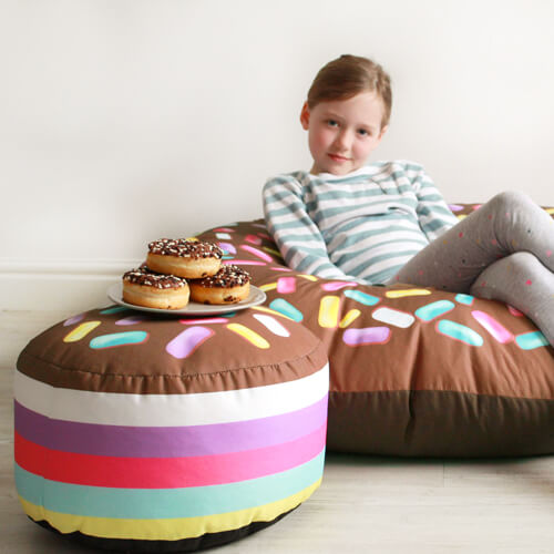 chocolate donut beanbag with chocolate donut kids stool