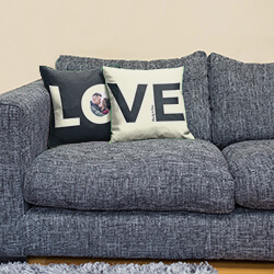 Personalised Pair of Love Cushions on sofa