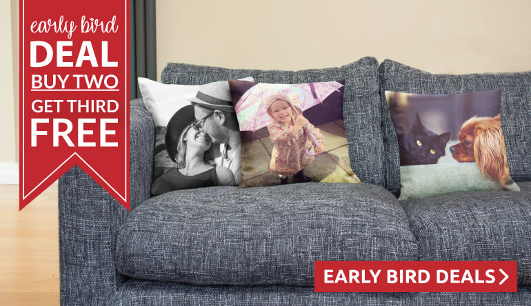 Buy 2 photo cushions and get third FREE