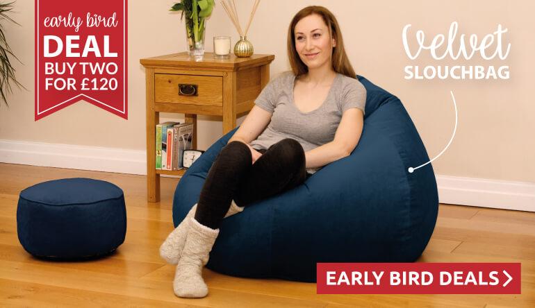 Buy two velvet beanbags for £120