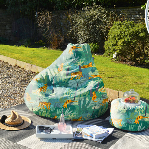 Jungle Tiger Outdoor Beanbag in Garden