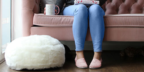 Hygge Faux Fur Footstool in Natural