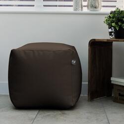 Cream Faux Leather Bean Bag Cube