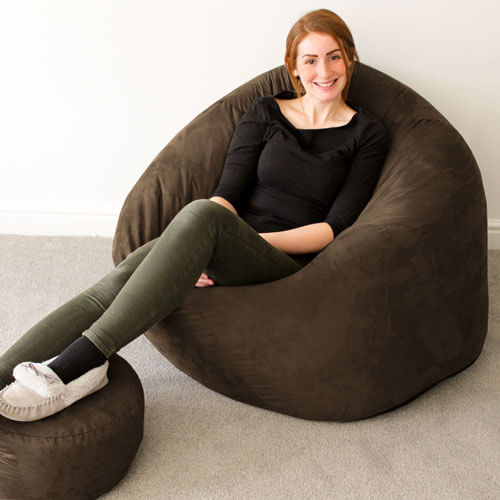 Faux Suede Flob A Dob Adult Bean Bag in Brown