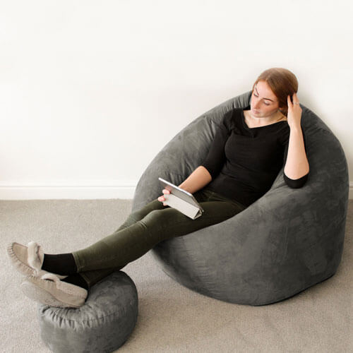 Faux Suede Flob A Dob Adult Bean Bag in Slate Grey