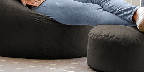 Faux seuede bean bag footstool in chocolate brown