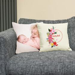 Floral Mum Cushion on sofa