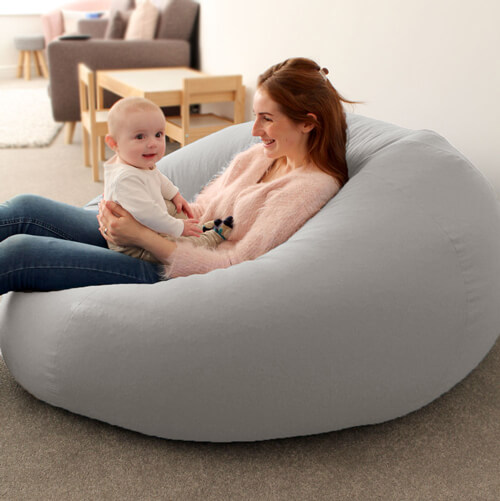 Mother and baby on Goliath Beanbag