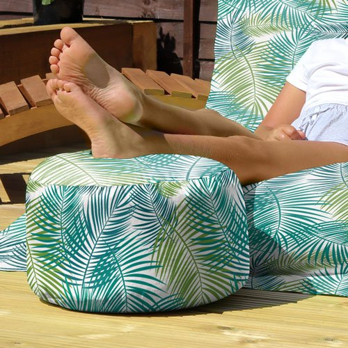 Flamingo beanbag in the garden with footstool