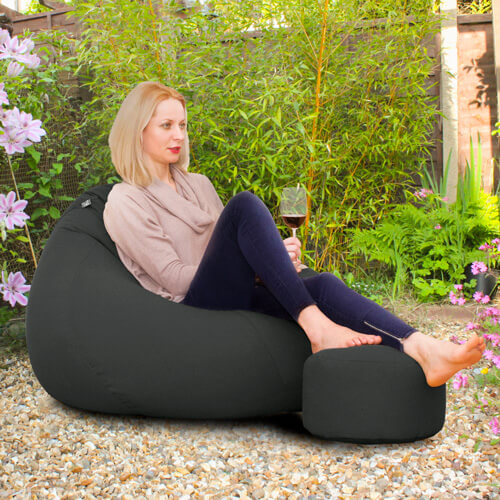 Outdoor Slouchbag with Matching Footstool in Garden