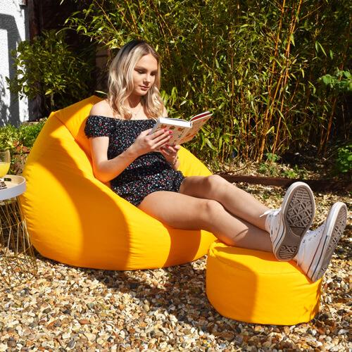 Outdoor Slouchbag with Matching Footstool in Garden
