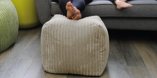 Jumbo cord bean bag cube used a footstool