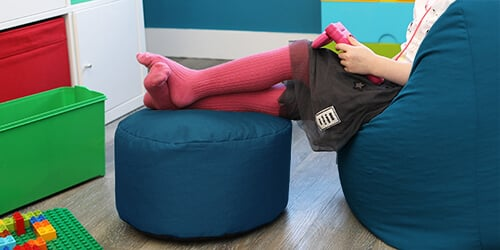 Kids classic beanbag with matching footstool