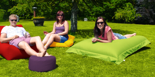 Large Squarbie Bean Bag outdoor in the garden