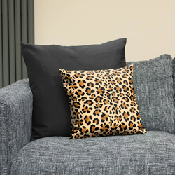 Leopard Print Cushion Layered with Black Trend Cushion