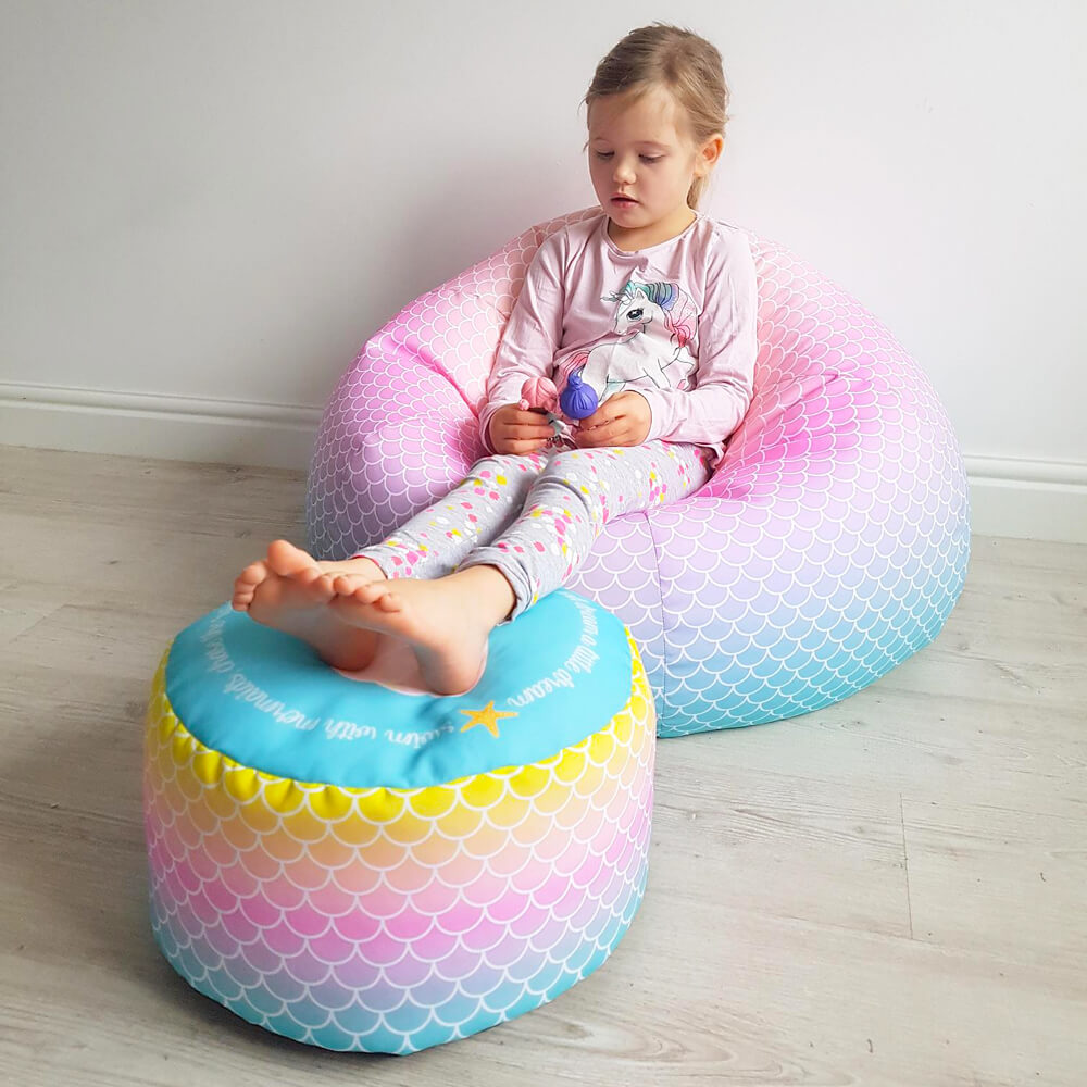 Mermaid Ombre Kids Classic and Matching footstool