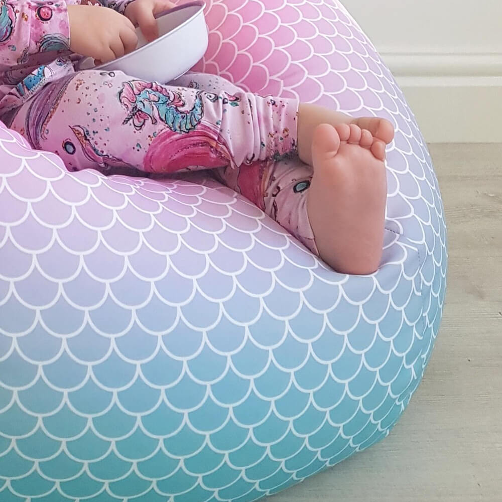 Mermaid Ombre Kids Classic Bean Bags Rucomfy