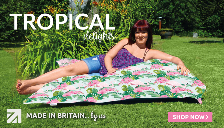 Tropical range of beanbags and cushions