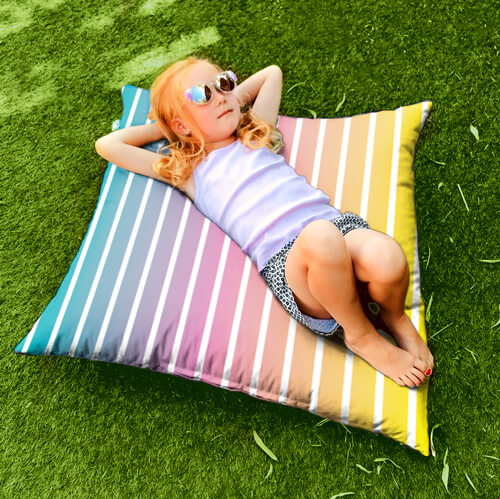 Ombre Stripe Floor Cushion Outdoors