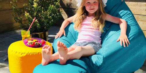 Kids outdoor stool bean bag outdoor in the garden
