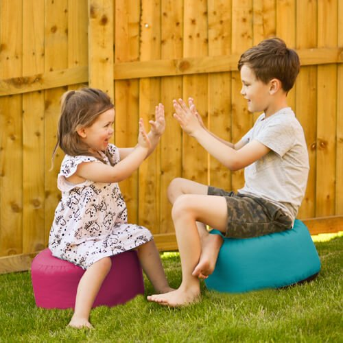 Kids outdoor stool bean bag outdoor in the garden