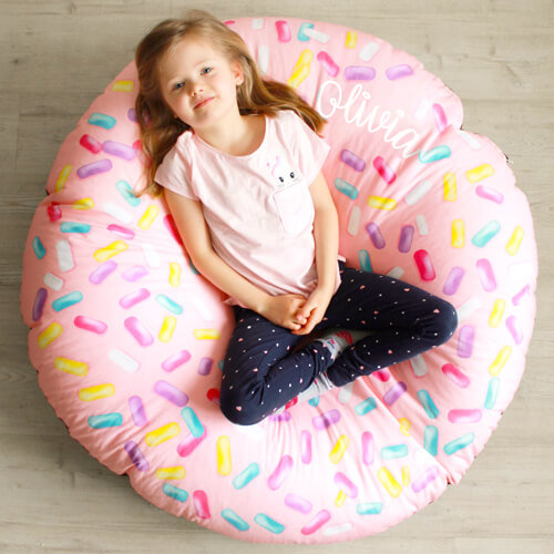 Personalised strawberry donut beanbag