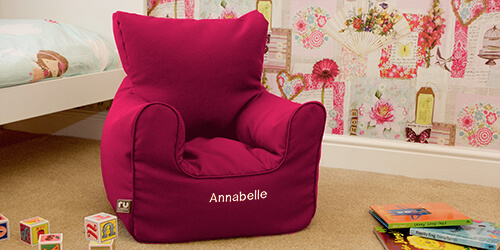 Personalised toddler beanbag armchair in cerise pink