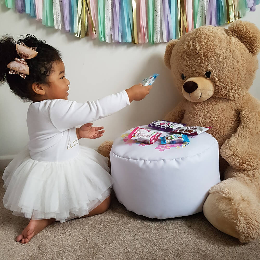 platinum grey unicorn kids stool with little girl and teddy bear