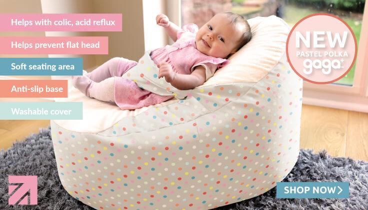 New for Spring pastel polka gaga+ baby beanbag