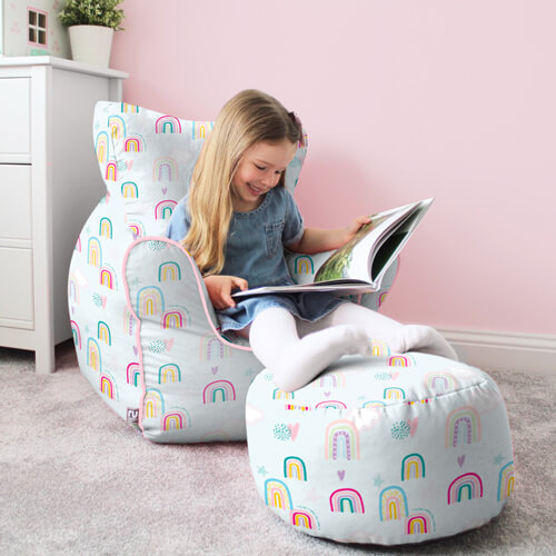 Rainbow Sky Childrens Chair and Kids Stool