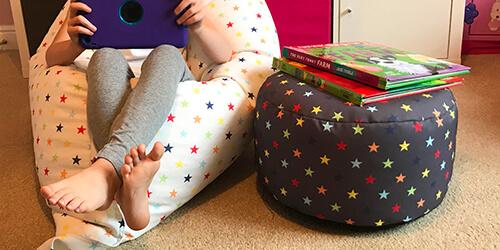 Velvet bean bag and footstool in pabble grey