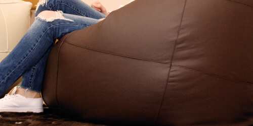 Flob A Dob real leather bean bag close up