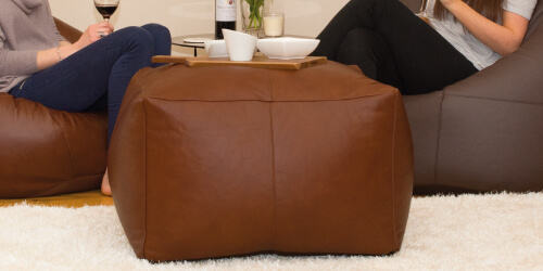 Versatile real leather ottoman