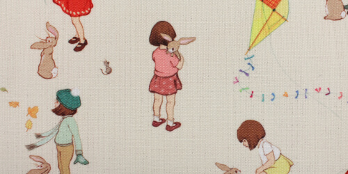 Classic Belle and Boo Design Fabric Close Up