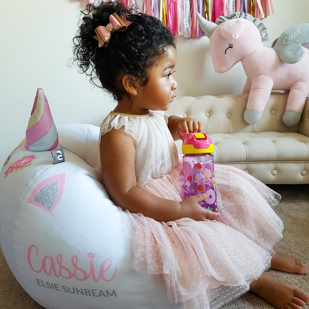 small baby pink 3D unicorn beanbag