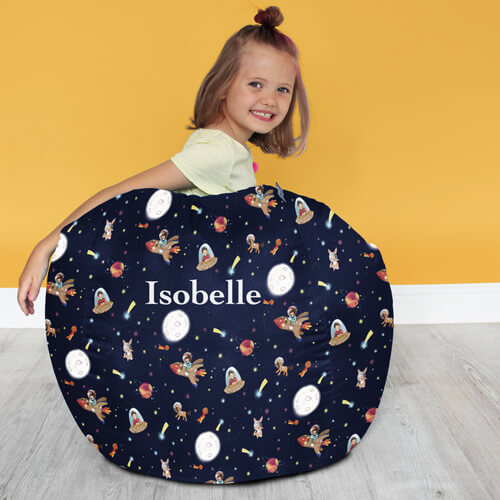 Belle and Boo Kids Classic Beanbag with Space Adventure Pattern
