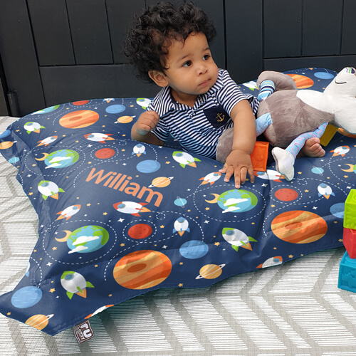 Personalised Outer space kids Squarbie bean bag
