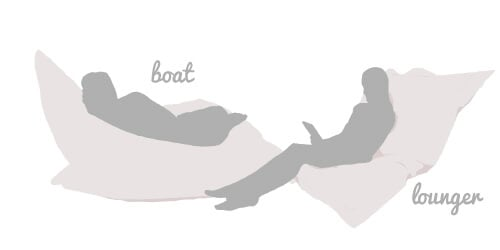 Large Squarbie Bean Bag Positions, boat and lounger
