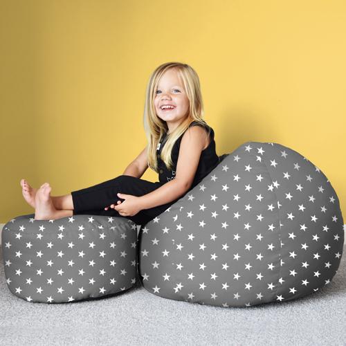 Charcoal grey stars kids bean bagfoot stool