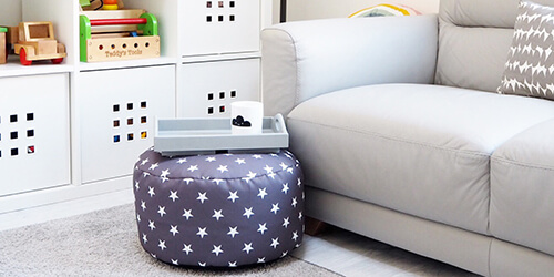 Stras beanbag with matching stars footstool